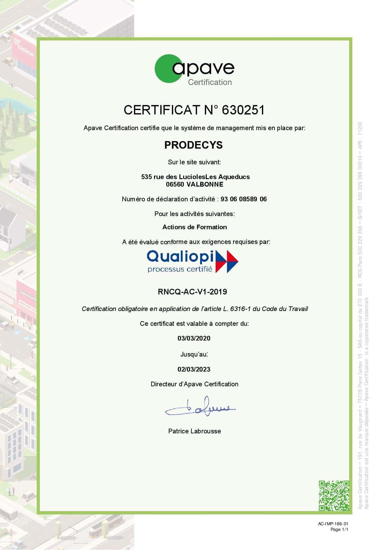 Certificat Qualiopi - Prodecys
